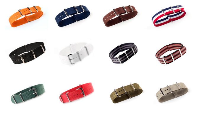 Different NATO straps to choose from