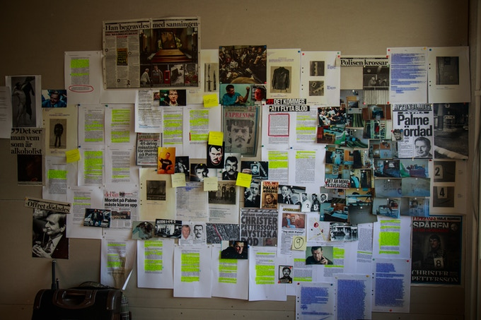 Office wall dedicated to Christer Pettersson.