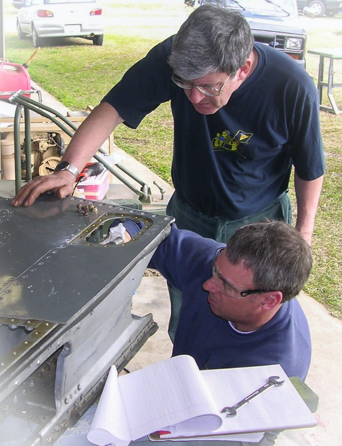 Andrew Brodie (L) and Phil Wallis working on a leading edge tank