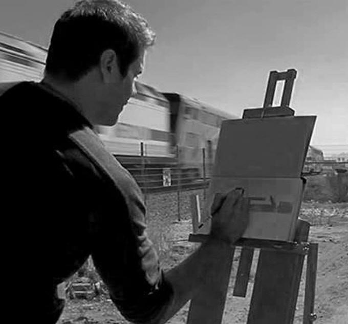 Mike plein air painting in LA