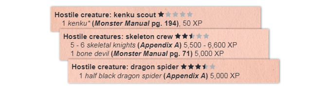 Combat Difficulty Gauges rate encounter challenges from 1 (very easy) to 5 (deadly!) stars. This gives GMs a quick idea of how hard a fight is!