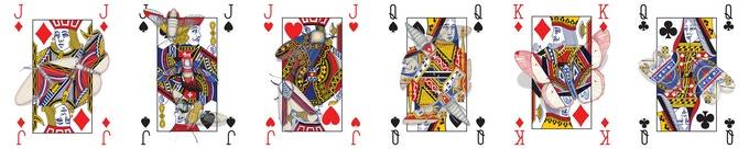 Some of the completed Cryptic Cards designs