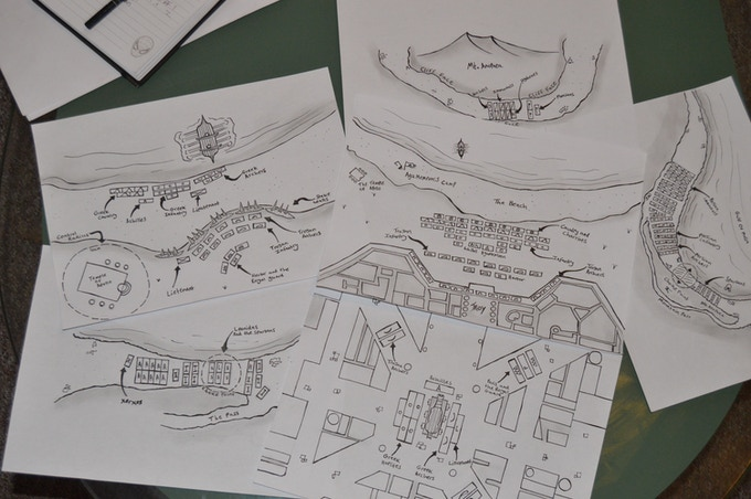The maps of the source book. pencil and fine liner originals
