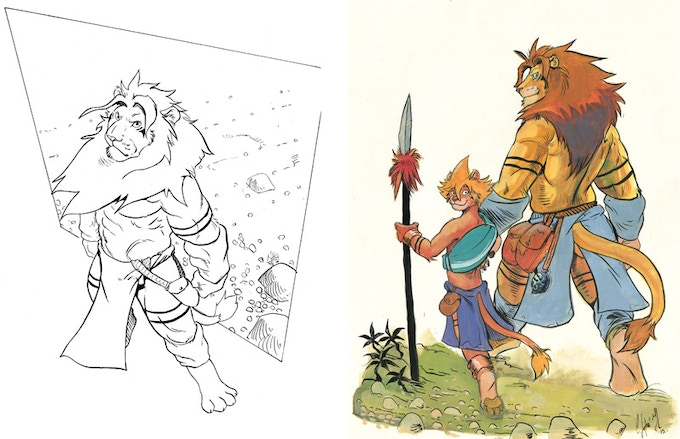 Original artwork examples: inked sketch (left) and full color (right)