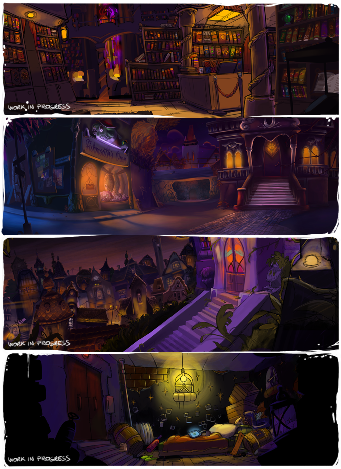 Just a few of the locations you'll be visiting in Gibbous.