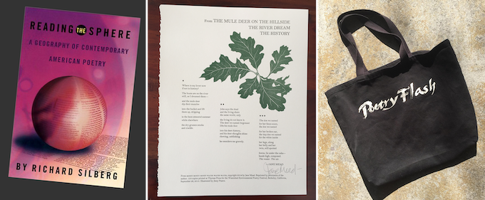 Examples of PoetryFlashNow! rewards: A book edited by Poetry Flash; a limited edition poem broadside; Poetry Flash tote bag.
