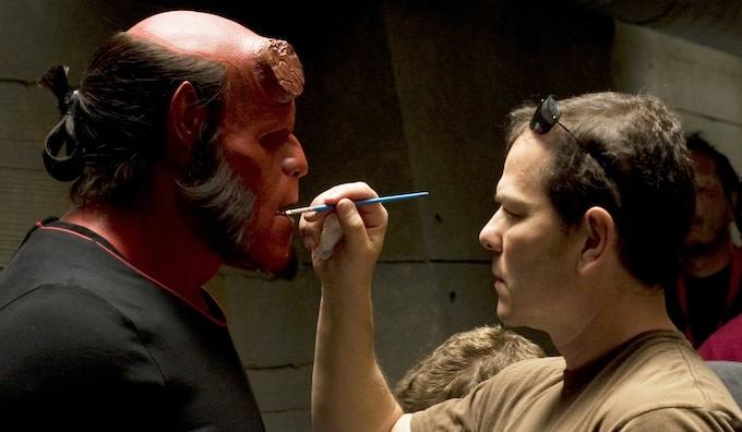 Master make-up effects artist Mike Elizalde at work on Hellboy.