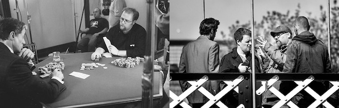 """L: Paul working with Sylvester Stallone for his role as """"The Dean"""" (Shade, 2002); and R: on set as a Director"""