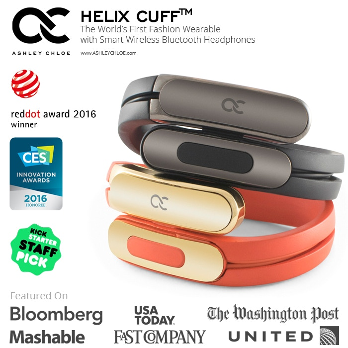 Helix Cuff by Ashley Chloe is the first fashion wearable with smart wireless Bluetooth headphones on your wrist. Helix ensures that fashion and tech are always at hand.