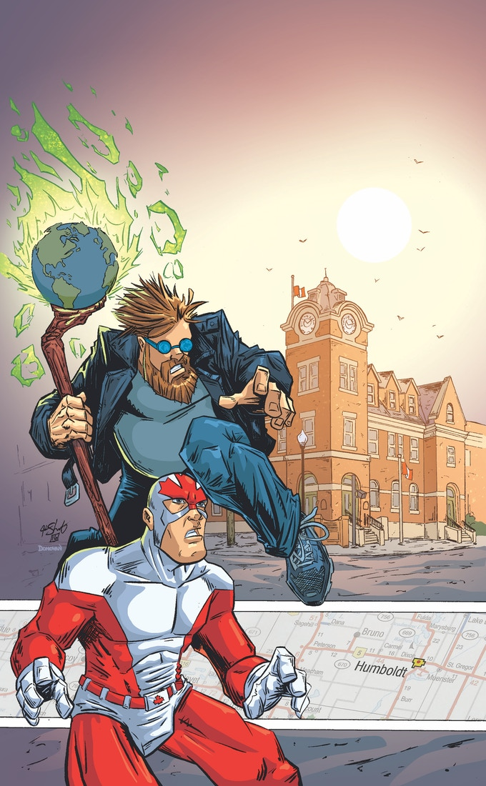 A special project featuring Auroraman and the Classic Captain Canuck by Justin Shauf, colours by Donovan Yaciuk