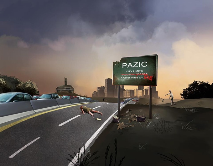 Post-Apocalyptic Zombie Infected City board game concept art