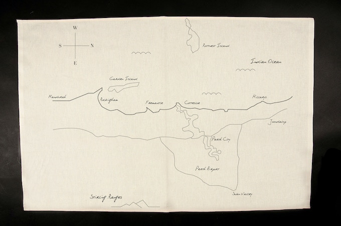 """The Perth Map Flag printed on natural linen = 18"""" x 22"""""""