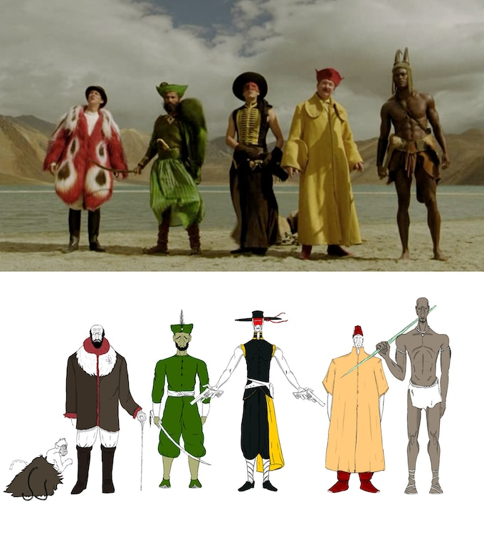 The five heroes in the film // The five animated heroes from the play