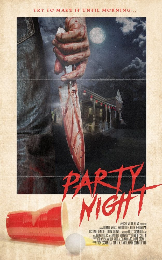 Retro 80's slasher film.  After prom, these teens retreat to secluded house for a party.  Bloody events ensue.   Support indie horror!
