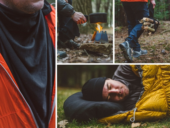 Trail Uses: An extra insulating layer, pot gripper, log carrier, and the best camp pillow.