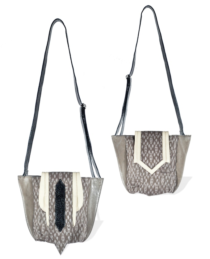 The Aruna Crossbody in Taupe ikat with black & grey trim