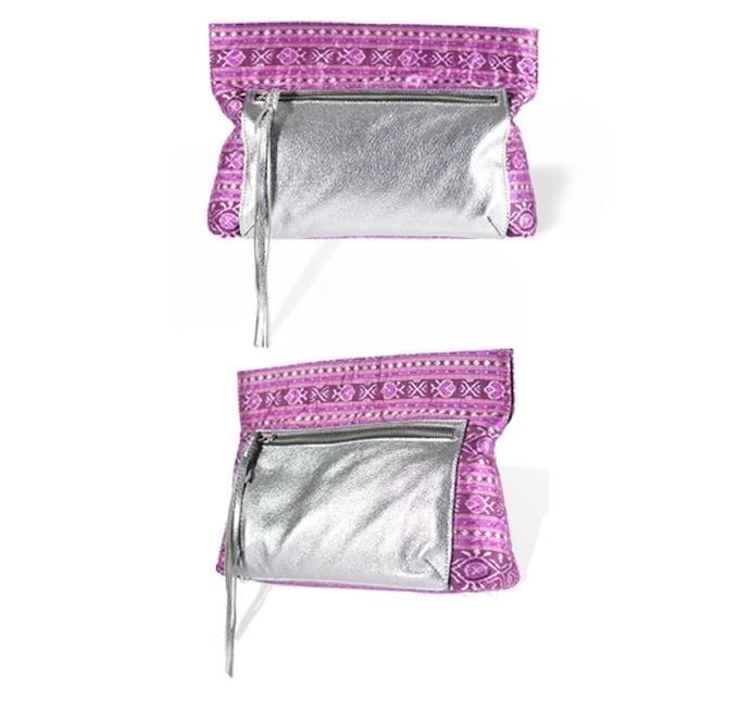 The Maya clutch in purple ikat with metallic leather trim