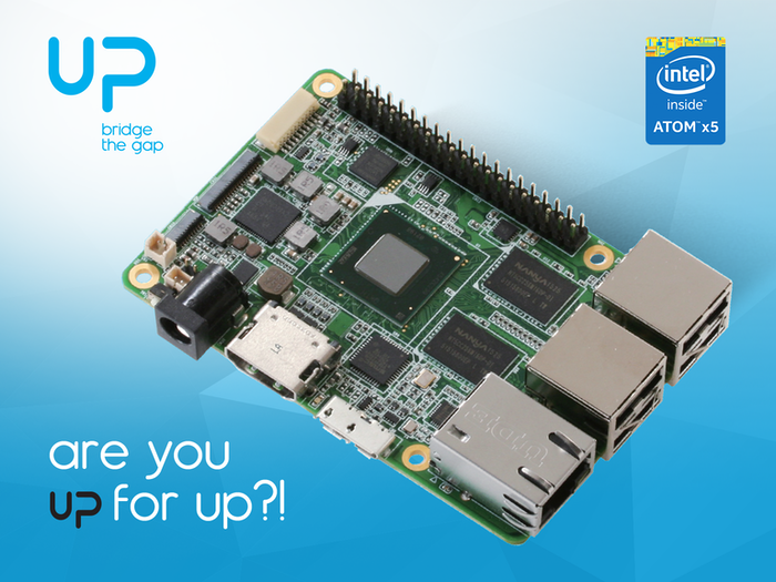 UP, the credit card computer board for makers powered by Intel Quad Core Atom X5-8350 1.92 GHz, running Linux, Windows 10, and Android