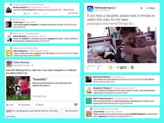 On Twitter and Facebook, lots of great people are getting behind KAZOO. Some highlights as of April 2nd.