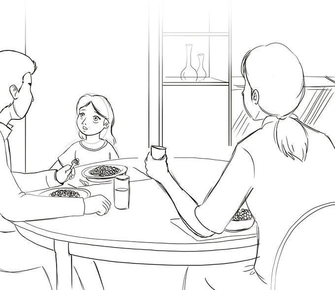 Lizzie eating breakfast with her family before daddy leaves