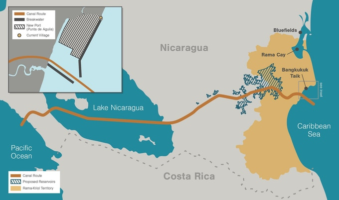 The proposed interoceanic canal route. (Map by Mark Garrison)