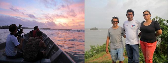 AoS crew, Aleks Martray and Poll Bravo, on the Caribbean Sea near Bangkukuk (left). Community leader Carlos Bilis with AoS Crew, Alvaro Vergara and Maria Aldana (right).
