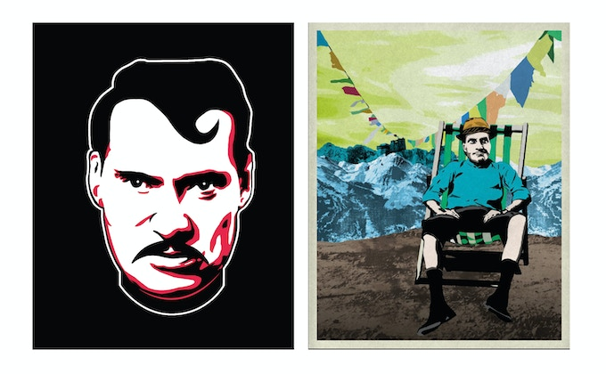 Graphics by Hop Louie - to the left the Digital Print and to the right the Giclée Print
