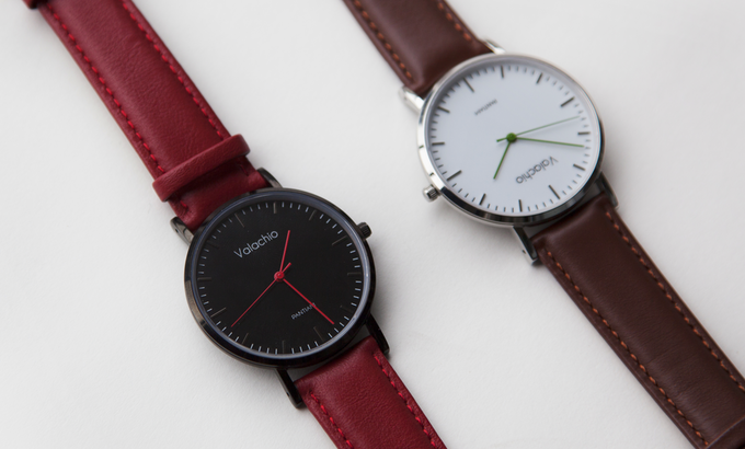 Midnight with red calfskin strap + Forest | Brown Calf