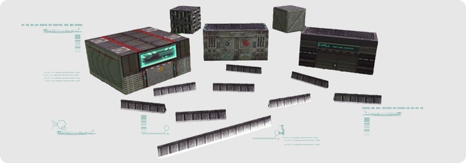 Starter Terrain Kit (5 buildings and 9 walls, in foldable cardstock)