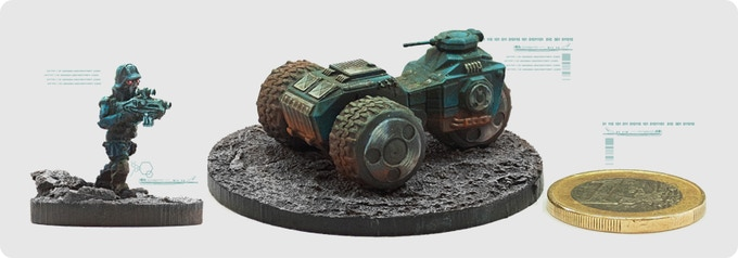 CSW INVASION units: Brigade infantry (left) and Hunter vehicle(right)
