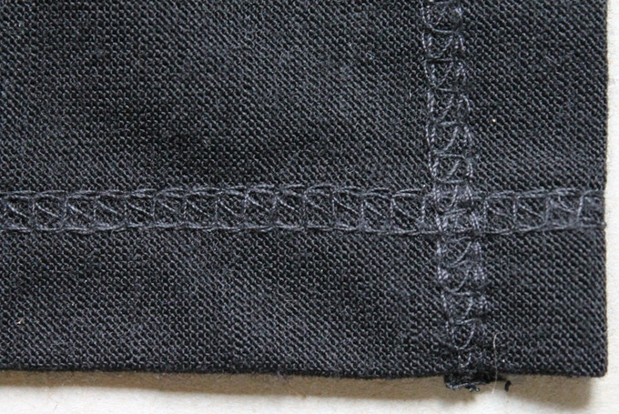 Close up of hand sewn stitching