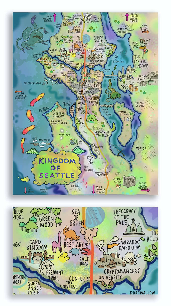 New preview of the 'Fantasy Map of Seattle' poster reward! Art is not yet final.