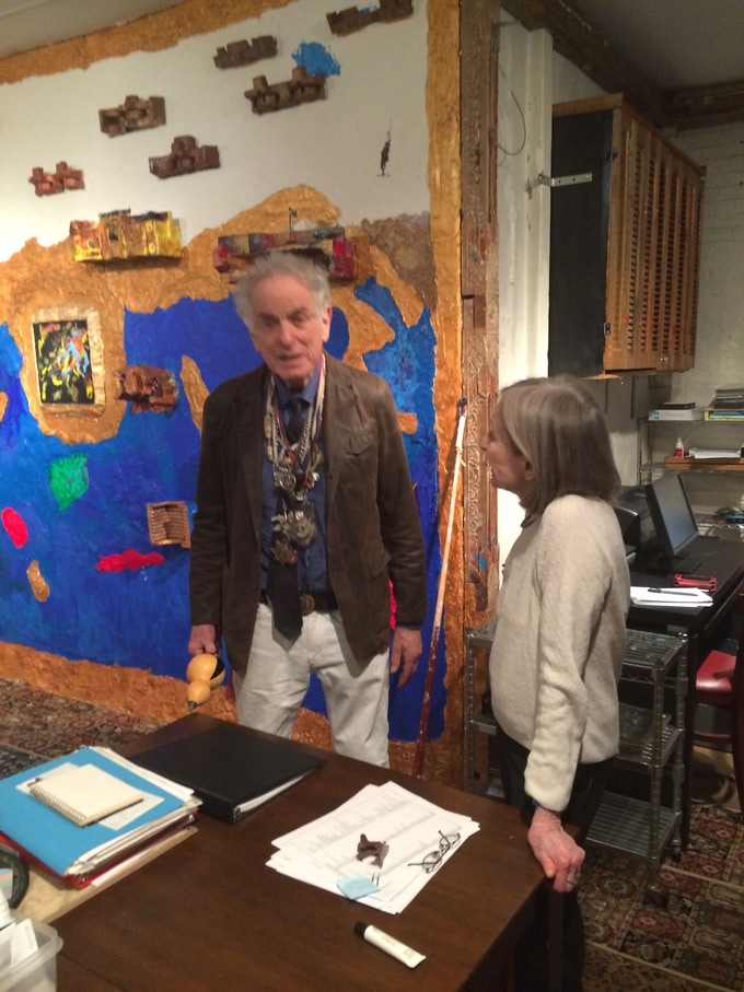 David Amram, legendary jazz composer, conductor and performer, with Astrid Rosset in Barney's East Village loft