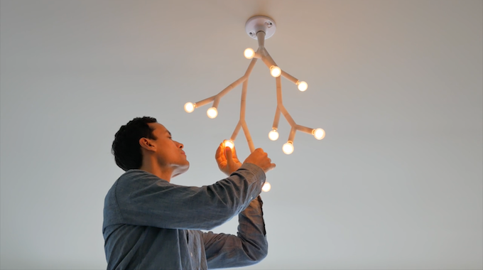 Building a Splyt chandelier from a ceiling light socket
