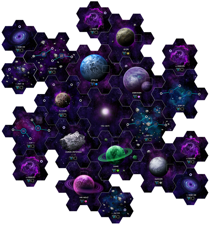 TAU CETI can be arranged in many different ways. The modular hex system adds to  the strategy of the game, and creates a high level of replayability. All hex tiles and cardboard tokens are double sided, and 2mm thick!