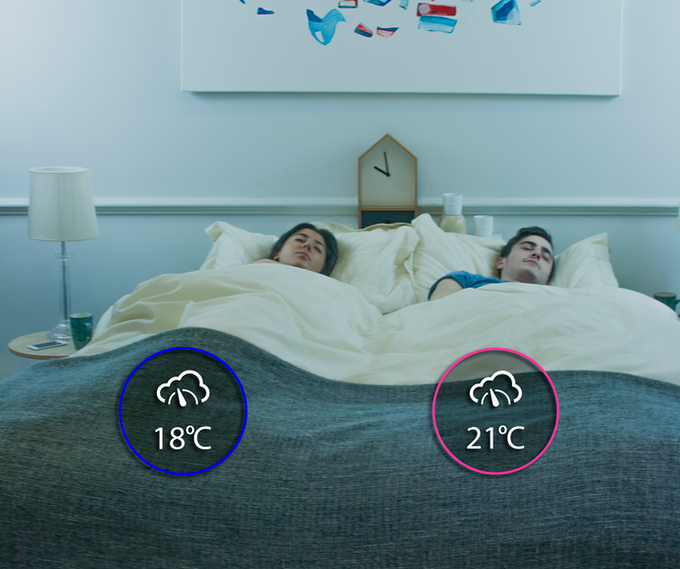 Independent temperature control for each side of the bed.