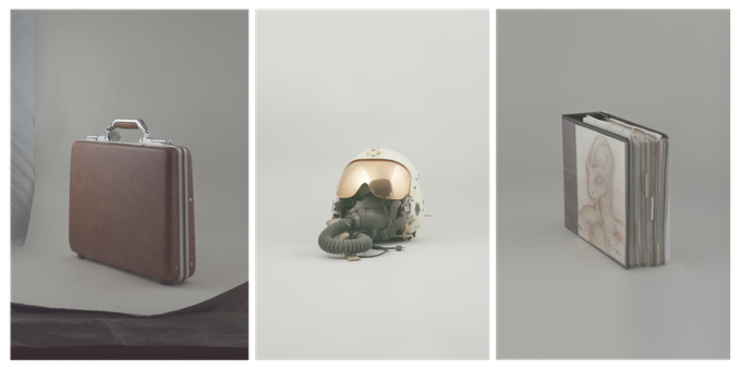 Suitcase containing material from the UFO crash site in Roswell, former CIA pilot John Lears helmet, book with drawings of encounters.
