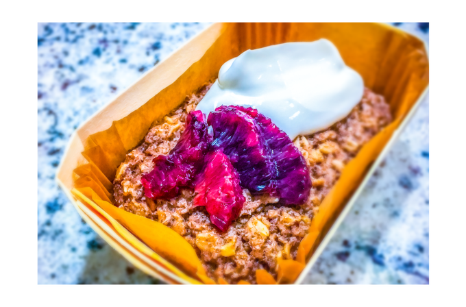 VEGAN + GLUTEN-FREE BAKED OATMEAL: baked-in fruit, greek yogurt, fresh fruit garnish