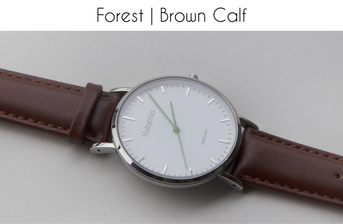 Green hands | Polished steel case | Brown calfskin strap