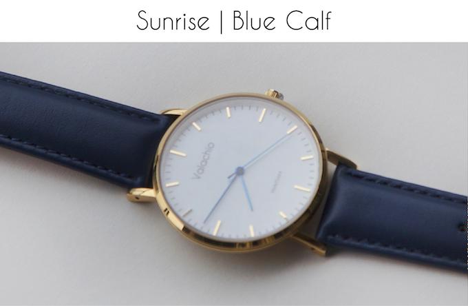 Blue hands | Gold-plated case | Blue calfskin strap