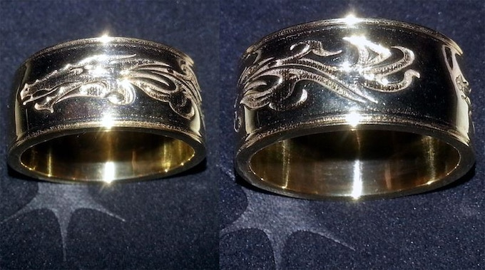 Custom 3D Printed Dragon Ring (Gold Plated Shown)