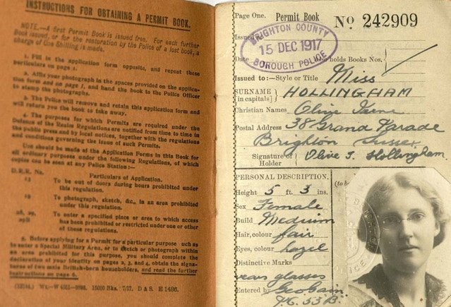 Permit book from WWI in Brighton