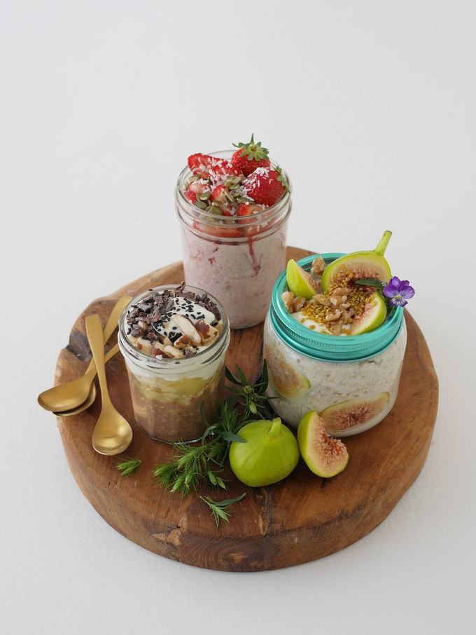 Overnight oats - 3 ways | Fig, honey and bee pollen (using our honey, and will talk about harvesting bee pollen in the guide at the back of the book) | Strawberry and coconut | Banana and cacao | GOING IN THE BRUNCH SECTION OF THE BOOK