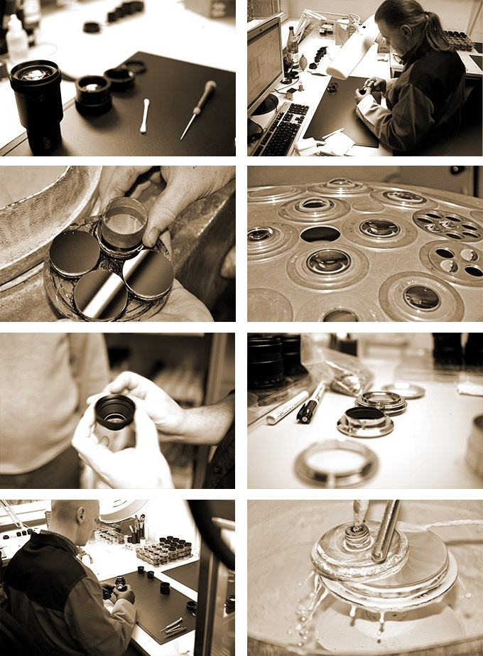 Several steps of the lens production in Görlitz and Hamburg