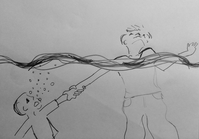 "Storyboards for the underwater sequence are a perk for £50       ""A SUPERNATURAL FORCE PULLS NOAH BELOW THE SURFACE TAKING JOE WITH HIM"""