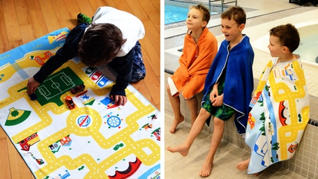 All-in-one play mat & travel swim towel for kids. Textured microfiber towels pack up small for portability. It's a take-anywhere toy for indoor/outdoor play!