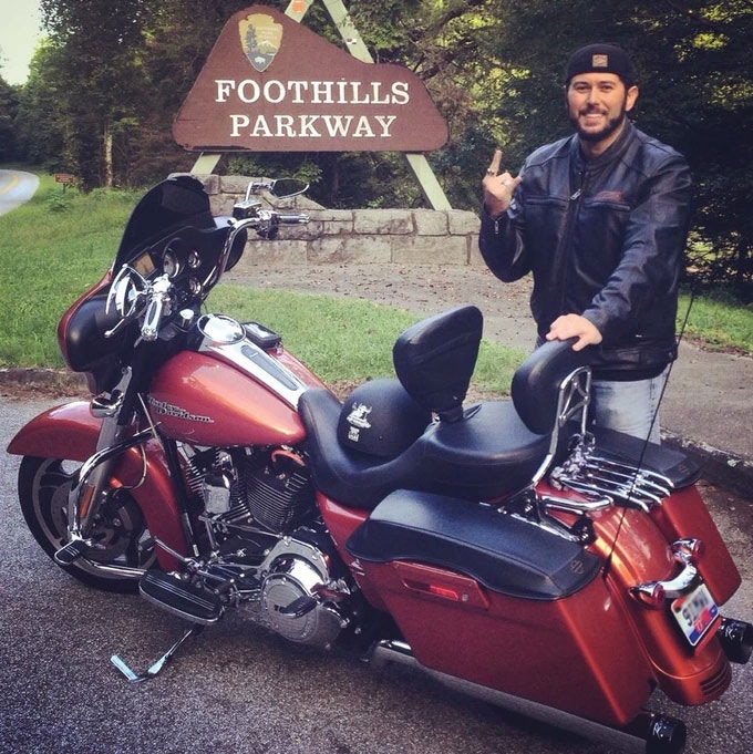 Me on the Foothills Parkway in Tennessee (Okay, maybe a bit like Bill the Biker!)