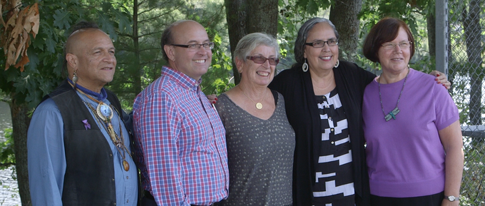 Commissioners of the TRC: gkisedtanamoogk, Secretary of State Matt Dunlap, Carol Wishcamper, Sandy White Hawk, and Dr. Gail Werrbach