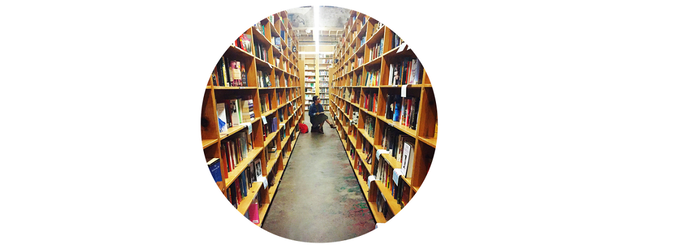 Vina trekked to Powell's in Portland, OR. It's probably one of her favorite places to be.