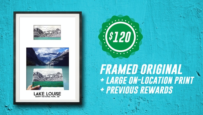 Includes: Framed ORIGINAL DRAWING + 12x12 Color Print of On-Location Photo + High quality, screenprinted T-Shirt + Pens & Pedals Ebook
